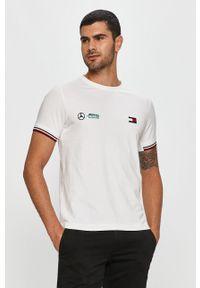Biały t-shirt Tommy Hilfiger Tailored casualowy, z aplikacjami, na co dzień