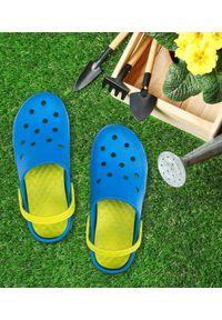 REALPAKS - Klapki dziecięce Realpaks F-402 Niebiesko-Zielone. Okazja: na plażę. Kolor: niebieski, zielony, wielokolorowy. Materiał: tworzywo sztuczne. Styl: młodzieżowy