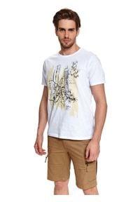 TOP SECRET - T-shirt z nadrukiem. Kolor: biały. Materiał: tkanina, bawełna. Długość rękawa: krótki rękaw. Długość: krótkie. Wzór: nadruk. Sezon: lato. Styl: wakacyjny #1