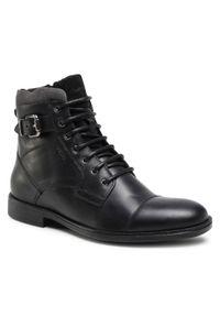 Czarne buty zimowe Geox casualowe, z cholewką, na co dzień