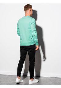Turkusowa bluza Ombre Clothing bez kaptura, z nadrukiem