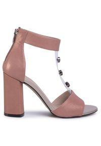 Różowe sandały Karino z aplikacjami, klasyczne