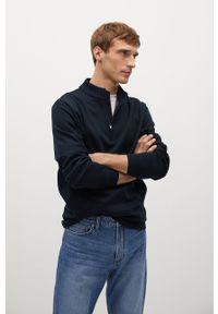 Niebieska bluza nierozpinana Mango Man krótka, bez kaptura