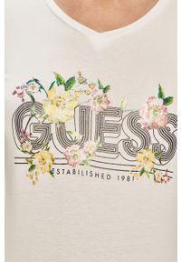 Biała bluzka z długim rękawem Guess na co dzień, z nadrukiem, casualowa