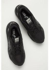 Czarne buty sportowe Asics na sznurówki, z okrągłym noskiem, z cholewką