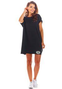 e-margeritka - Sukienka bawełniana na lato czarna - uni. Okazja: na co dzień. Kolor: czarny. Materiał: bawełna. Sezon: lato. Styl: wakacyjny, casual. Długość: mini