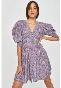 Fioletowa sukienka Answear Lab wakacyjna, z krótkim rękawem, mini, na co dzień