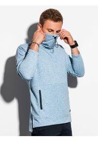 Ombre Clothing - Bluza męska ze stójką B1096 - niebieska - XXL. Typ kołnierza: kołnierzyk stójkowy. Kolor: niebieski. Materiał: bawełna, poliester