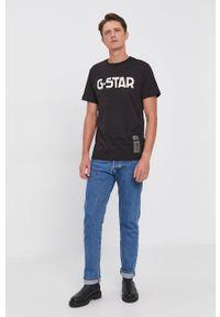G-Star RAW - G-Star Raw - T-shirt bawełniany. Okazja: na co dzień. Kolor: czarny. Materiał: bawełna. Wzór: aplikacja. Styl: casual