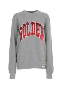 GOLDEN GOOSE - Szara bluza z cekinowym logo. Kolor: szary. Materiał: bawełna. Długość rękawa: długi rękaw. Długość: długie. Wzór: napisy, aplikacja. Styl: klasyczny, sportowy