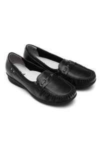Czarne mokasyny PESCO w kolorowe wzory, eleganckie