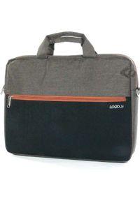 Brązowa torba na laptopa Logo