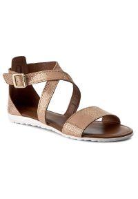 Złote sandały Kazar eleganckie, na wiosnę, w paski, na klamry