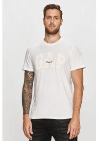 Biały t-shirt GAP z nadrukiem, na co dzień, casualowy