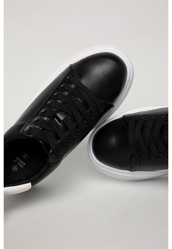 Czarne buty sportowe Call It Spring na sznurówki, z okrągłym noskiem, z cholewką
