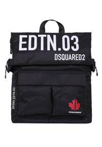 DSQUARED2 - Czarny plecak z logo Dsquared2. Kolor: czarny. Materiał: tkanina. Wzór: aplikacja, nadruk