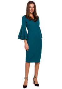 MAKEOVER - Wizytowo-Koktajlowa Sukienka w Morskim Kolorze. Kolor: morski. Materiał: poliester, elastan. Styl: wizytowy