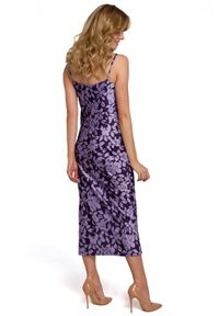 Makover - Zjawiskowa sukienka na ramiączkach. Materiał: tkanina. Długość rękawa: na ramiączkach. Długość: midi