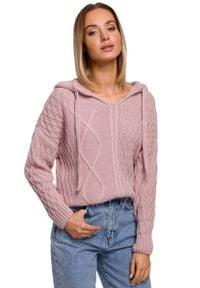 MOE - Nierozpinany Sweter z Kapturem - Różowy. Typ kołnierza: kaptur. Kolor: różowy. Materiał: akryl, poliamid