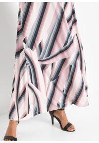 Sukienka z dekoltem halter bonprix jasnoróżowo-czarny w paski. Typ kołnierza: dekolt halter. Kolor: różowy. Wzór: paski