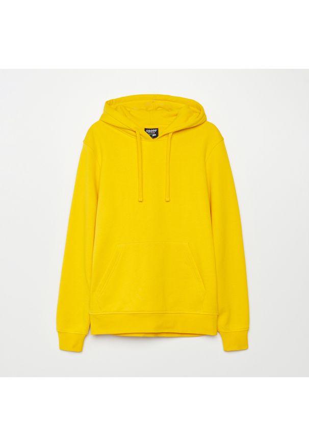 Cropp - Bluza basic z kapturem - Żółty. Typ kołnierza: kaptur. Kolor: żółty