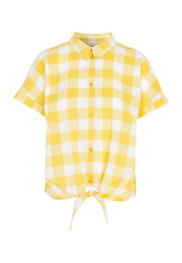 Żółta bluzka Cellbes w kratkę, krótka