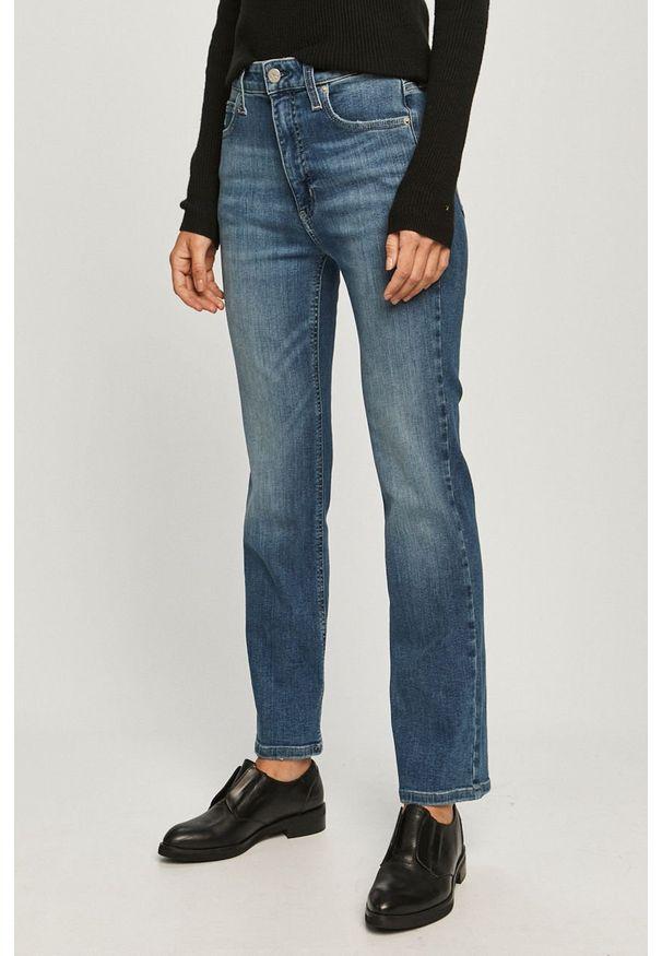 Niebieskie jeansy bootcut Calvin Klein Jeans w kolorowe wzory, z podwyższonym stanem
