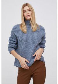 Drykorn - Sweter wełniany Perima. Kolor: niebieski. Materiał: wełna. Wzór: ze splotem