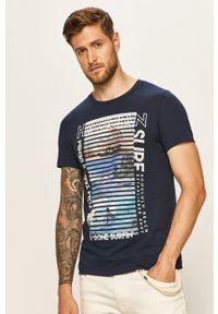 Niebieski t-shirt Tom Tailor Denim z nadrukiem, casualowy