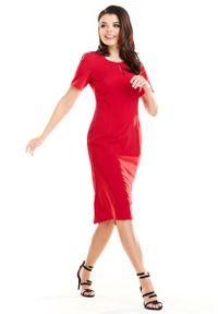 Czerwona sukienka wizytowa Awama midi, z krótkim rękawem, elegancka