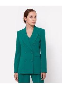 MARLU - Zielona marynarka dwurzędowa Grace. Kolor: zielony. Materiał: elastan, wiskoza. Długość rękawa: długi rękaw. Długość: długie. Styl: wizytowy