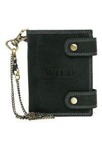 ALWAYS WILD - Portfel skórzany z łańcuchem Always Wild 2901-BIC czarny. Kolor: czarny. Materiał: skóra