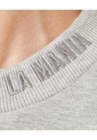 LA MANIA - Szara dresowa bluza Basset. Typ kołnierza: bez kaptura. Kolor: szary. Materiał: dresówka. Wzór: nadruk, melanż #3