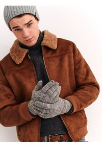 Szare rękawiczki TOP SECRET na jesień, klasyczne, w kolorowe wzory