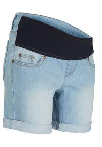 """Szorty ciążowe dżinsowe z paskiem pod brzuch bonprix jasnoniebieski """"bleached"""". Kolekcja: moda ciążowa. Kolor: niebieski. Sezon: lato"""
