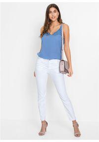 Bluzka bez rękawów z koronką bonprix jasnoniebieski. Kolor: fioletowy. Materiał: koronka. Długość rękawa: bez rękawów. Wzór: koronka