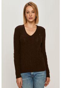 Brązowy sweter Polo Ralph Lauren polo, długi, casualowy