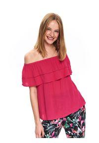 Różowa bluzka TOP SECRET na lato, w kolorowe wzory, elegancka, na co dzień