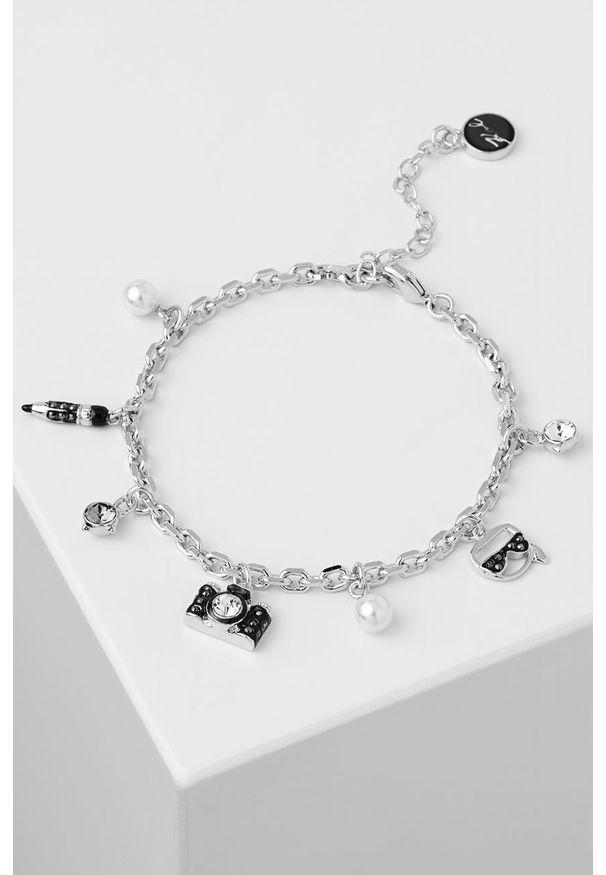 Srebrna bransoletka Karl Lagerfeld z kryształem, metalowa