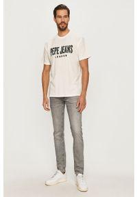 Biały t-shirt Pepe Jeans casualowy, z okrągłym kołnierzem, na co dzień, z aplikacjami