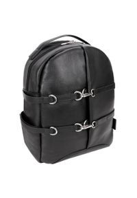 MCKLEIN - Skórzany plecak męski na laptopa McKlein Oakland czarny. Kolor: czarny. Materiał: skóra. Wzór: paski. Styl: biznesowy, elegancki