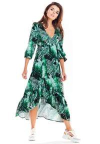 e-margeritka - Sukienka maxi z falbanami zielona - m. Kolor: zielony. Materiał: tkanina, poliester, elastan, materiał. Sezon: lato, wiosna. Typ sukienki: asymetryczne. Długość: maxi