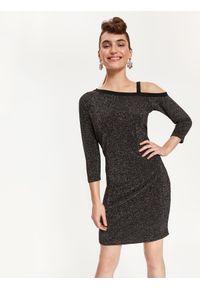 Czarna sukienka TOP SECRET z asymetrycznym kołnierzem, asymetryczna, na imprezę
