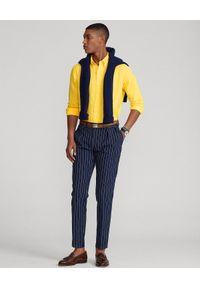 Ralph Lauren - RALPH LAUREN - Żółta koszula z lnu Slim Fit. Typ kołnierza: button down, polo. Kolor: żółty. Materiał: len. Długość rękawa: długi rękaw. Długość: długie. Wzór: haft #4