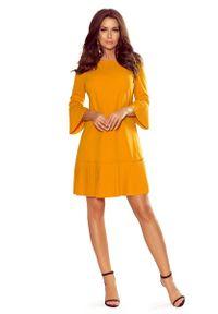 Żółta sukienka wizytowa Numoco z falbankami, wizytowa