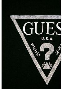 Czarna bluzka Guess Jeans na co dzień, z nadrukiem, casualowa, długa