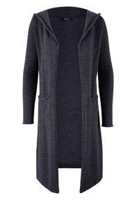 Długi sweter bez zapięcia z kapturem bonprix antracytowy melanż. Typ kołnierza: kaptur. Kolor: szary. Długość: długie. Wzór: melanż