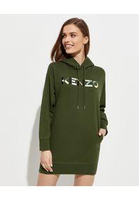 Kenzo - KENZO - Zielona bluza z kapturem. Typ kołnierza: kaptur. Kolor: zielony. Materiał: bawełna. Długość rękawa: długi rękaw. Długość: długie. Wzór: kolorowy