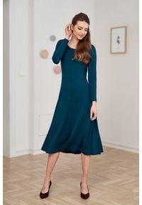 Marie Zélie - Sukienka Margarita butelkowa zieleń. Materiał: wiskoza, dzianina, materiał, elastan, tkanina. Długość rękawa: długi rękaw. Typ sukienki: trapezowe