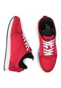 Czerwone półbuty Calvin Klein Jeans eleganckie, z cholewką, na co dzień